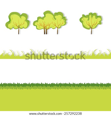 Green Grass with bushes. Isolated On White Background. Grass different shape. Illustration. Concept  design elements for garden. Spring Garden with shadow