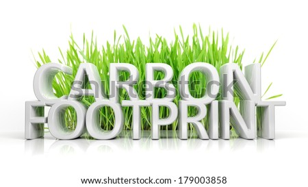 Green grass with Carbon footprint 3D text isolated - stock photo