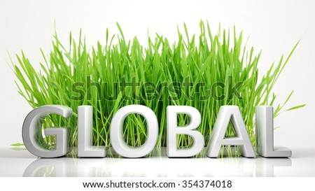 Green grass with Global 3D text, isolated on white background. - stock photo