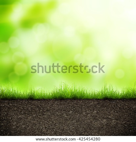 green grass with in soil over soft bokeh. Environment background - stock photo