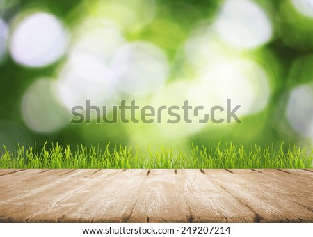 Green grass with wooden platform  - stock photo