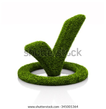 Green grassed check mark symbol in the circle on white background - stock photo