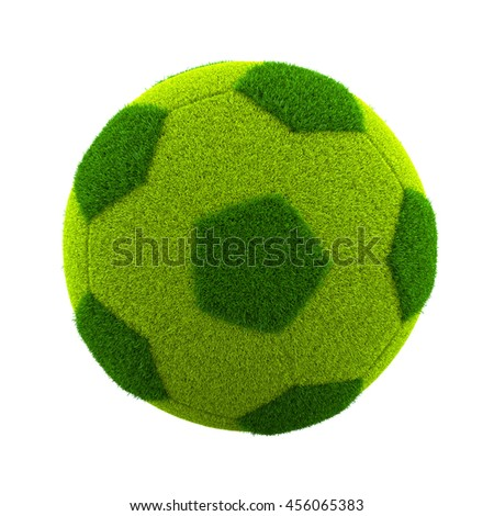 Green Grassy Soccerball Isolated on White Background 3D Illustration