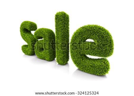 Green grassy symbol of sale isolated on white - stock photo