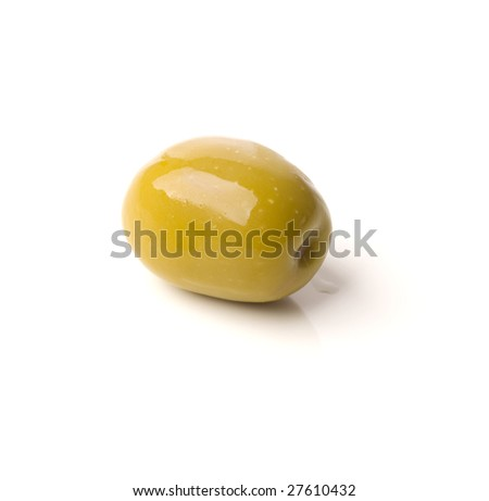 green greek olive on white background - healthy eating