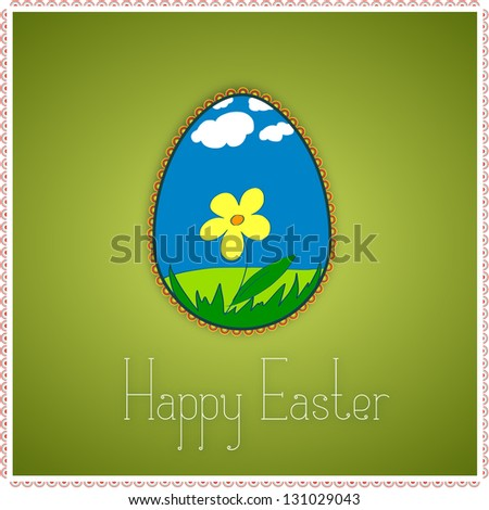 Green greetings card with decorated colorful Easter egg. Grass, flower, clouds, sky. With text Happy Easter. Raster