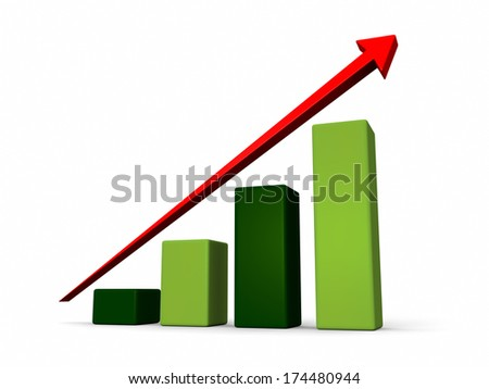 Green growth chart with red arrow isolated on white background