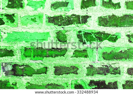 Green Grunge Abstract Background Brick and Mortar Rough Textures Horizontal