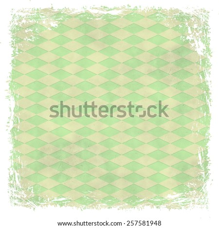 Green grunge background. Old abstract vintage texture with frame and border. - stock photo