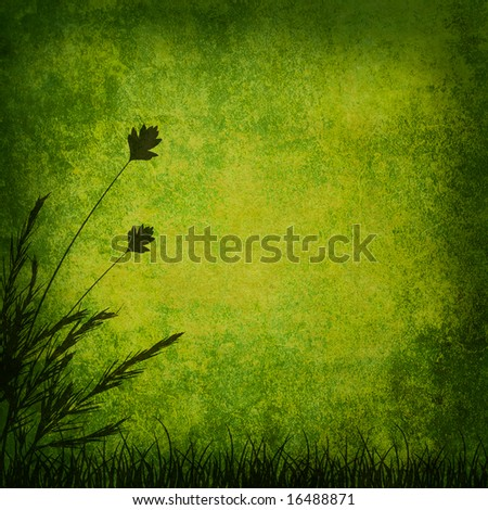 green grunge background with grass, raster image.