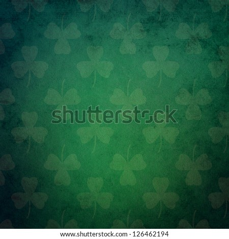 Green Grunge Background with Shamrock Pattern - stock photo