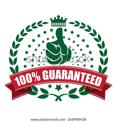green 100% guaranteed ribbon, sticker, sign, icon, label isolated on white - stock photo
