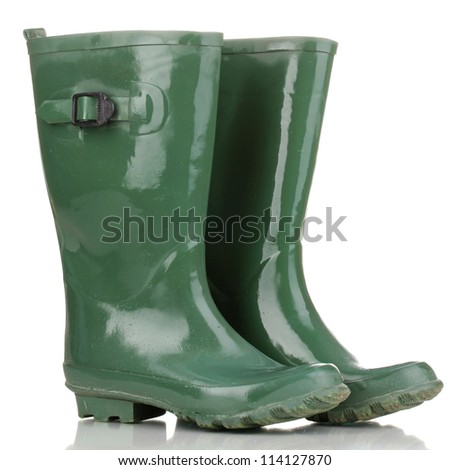 green gumboots isolated on white - stock photo