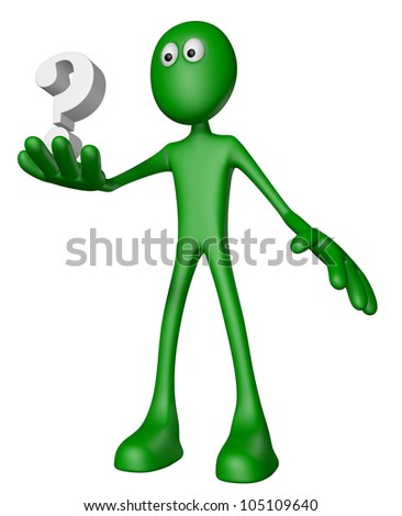 green guy and question mark - 3d illustration - stock photo