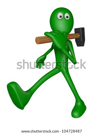 green guy with big hammer - 3d illustration