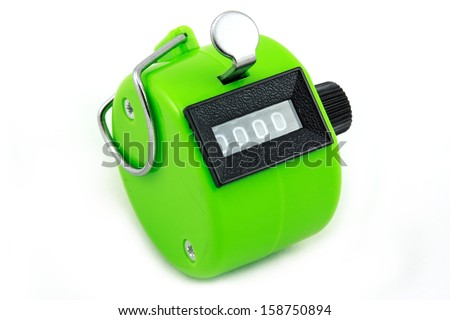 green hand counting machine isolated on white background