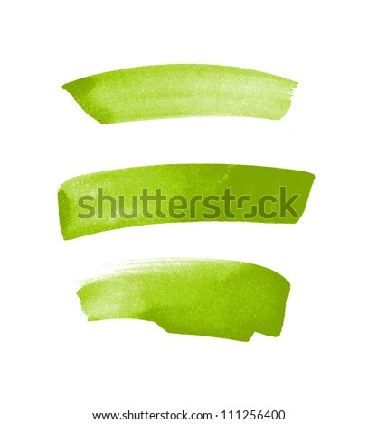Green hand painted brush strokes - stock photo