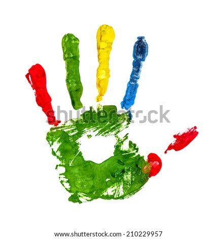 green handprint with colored fingers on an isolated white background