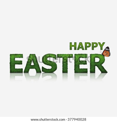 Green Happy Easter text made from grass, isolated mode