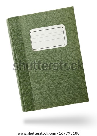 Green hardcover notebook front isolated on white - stock photo