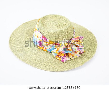 Green hat on white isolated background