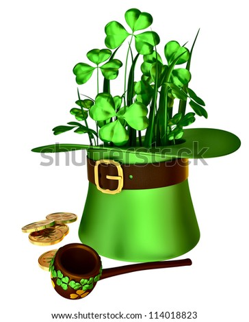 green hat, shamrocks and set of gold coins as a symbol of wealth