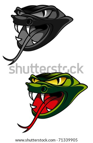 Green head of danger snake as a warning concept - also as emblem. Vector version also available in gallery