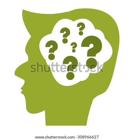 Green Head With Question Mark Brain Infographics Flat Icon, Sign Isolated on White Background