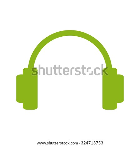 Green headphones as music and entertainment logo