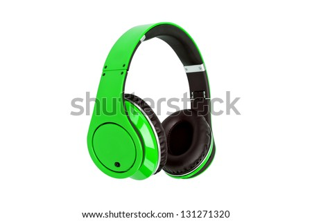 Green headphones isolated on a white background - stock photo