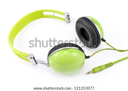 Green headphones isolated on white background