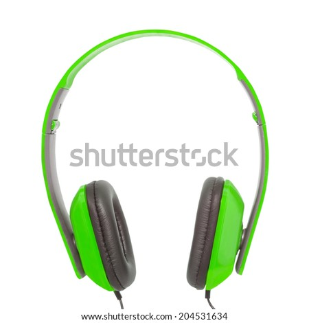 Green headphones on white background