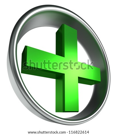 green health cross in round metal frame on white background. clipping path included - stock photo