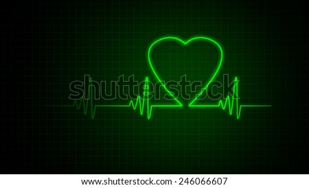 Green heart beat pulse