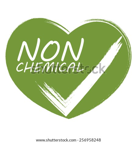 green heart shape non chemical sticker, badge, icon, stamp, label, banner, sign isolated on white - stock photo