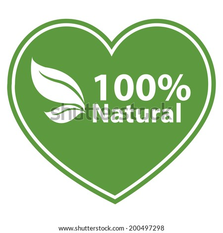 Green Heart Shape 100 Percent Natural Icon, Sticker or Label Isolated on White Background - stock photo