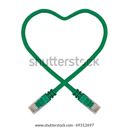 Green Heart Shaped Ethernet Network Cable - IT Valentine's Day
