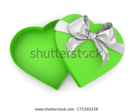 green  Heart shaped open gift box top view Valentine day concept , 3d render