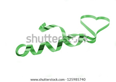 green heart shaped ribbon with shallow dept of field isolated - stock photo