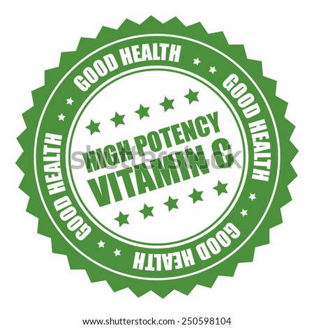 green high potency vitamin c good health sticker, badge, icon, stamp, label isolated on white