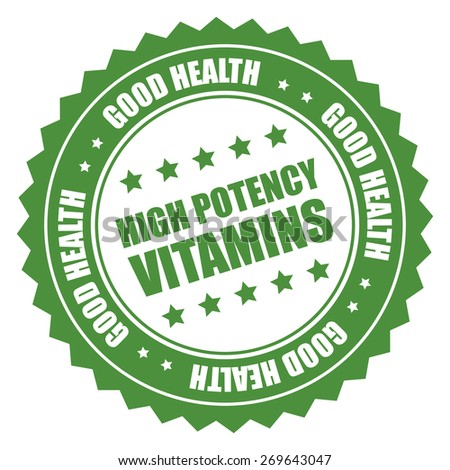 green high potency vitamins good health sticker, tag, sign, icon, label isolated on white