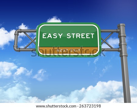 Green Highway Sign with EASY STREET Text on Blue Sky and Clouds Background. Next Exit Text. High Quality 3D Rendering.