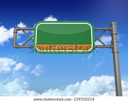 Green Highway Sign with Empty Space for your Wording. Blue Sky and Clouds Background. Next Exit Text. High Quality 3D Rendering. - stock photo