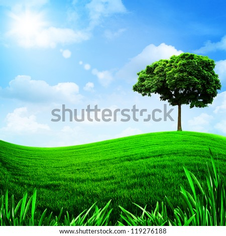 Green hills under the blue sky, natural backgrounds for your design - stock photo