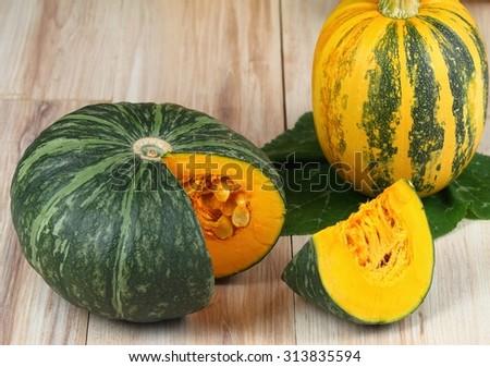 Green hokkaido and oil pumpkin - stock photo