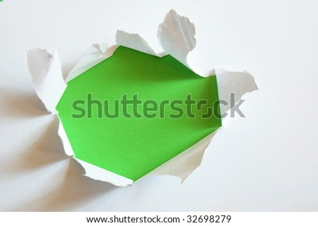green hole with copyspace in empty sheet paper