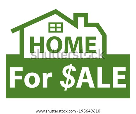 Green Home for $ale Icon, Sign or Label Isolated on White Background  - stock photo