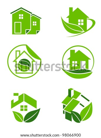 Green home icons - stock photo