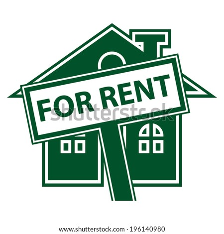 Green Home or Residence for Rent Icon or Label Isolated on White Background  - stock photo