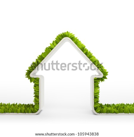 Green home symbol covered with leafs - stock photo